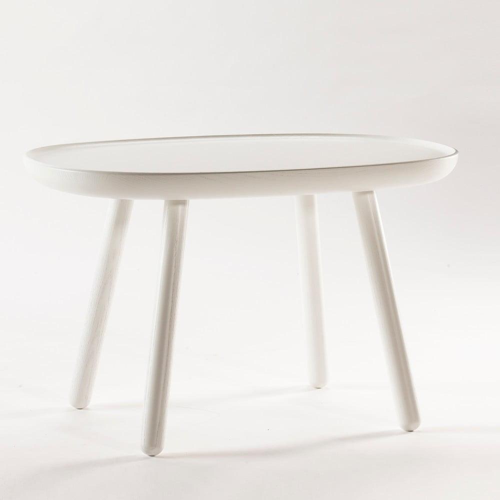 Biely odkladací stolík z masívu EMKO Naïve Medium