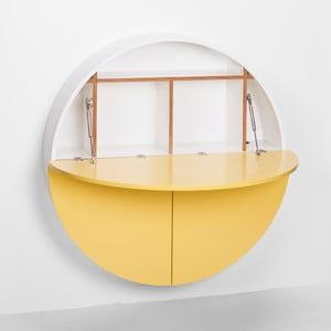 Žlto-biely multifunkčný nástenný stôl Pill EMKO