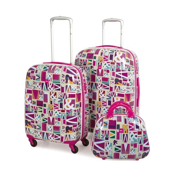 Set 2 cestovných kufrov Trolley Fuchsia