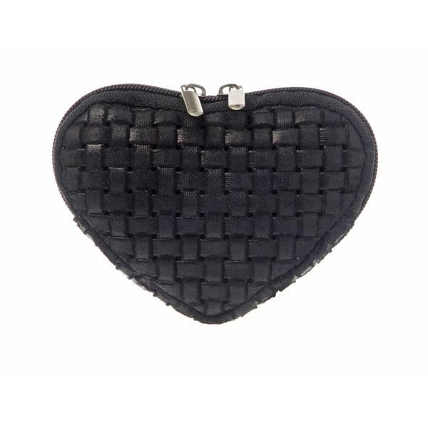 Semišová kapsička na mince Heart Black
