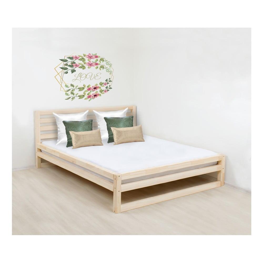 Drevená dvojlôžková posteľ Benli DeLuxe Naturelle, 200 x 200 cm