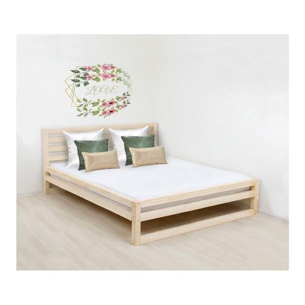 Drevená dvojlôžková posteľ Benlemi DeLuxe Naturelle, 200 × 180 cm