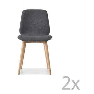 Sada 2 sivých jedálenských stoličiek s nohami z masívneho dubového dreva WOOD AND VISION Cut