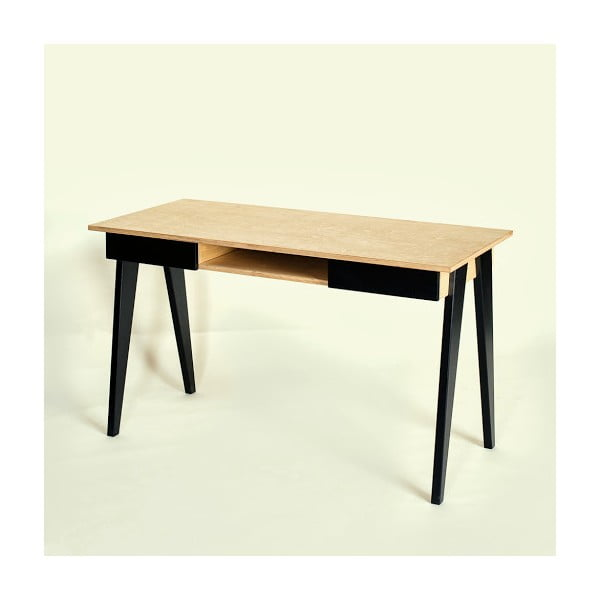 Pracovný stôl s čiernymi nohami Radis huh Oak