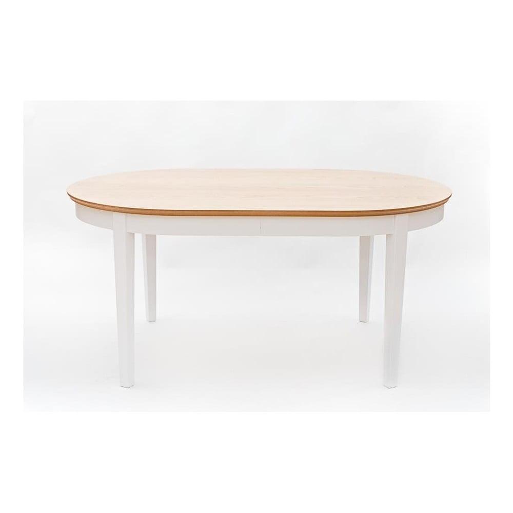 Biely rozkladací jedálenský stôl s detailmi z dubovej dyhy Wermo Family, 165 - 215 × 105 cm