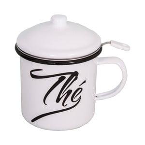 Smaltovaný biely hrnček s poklopom a čajovým sitkom Antic Line Classic