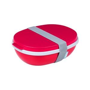 Červený dvojitý box na obed Rosti Mepal Ellips, 825 ml
