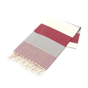 Hammam osuška American Stripes Red, 100 x 180 cm