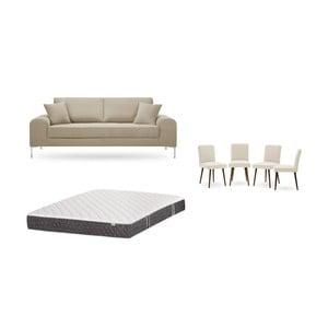 Set trojmiestnej sivobéžovej pohovky, 4 krémových stoličiek a matraca 160 × 200 cm Home Essentials