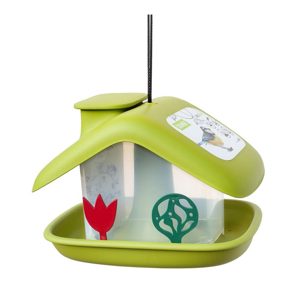 Zelené kŕmidlo pre vtáctvo Plastia Domček