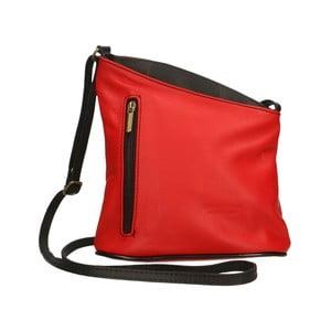 Červeno-čierna kožená kabelka Chicca Borse Garturo