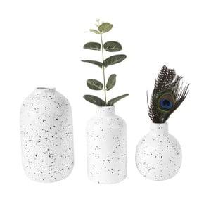 Sada 3 bielych keramických váz PT LIVING Dotted