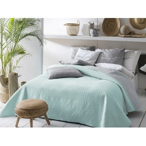 Mätovo zeleno-sivý obojstranný pléd cez posteľ Slowdeco Buenos, 220×240 cm
