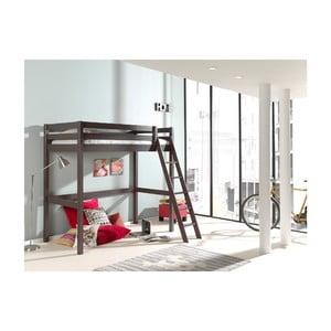 Sivá detská posteľ s rebríkom Vipack Pino, 90 × 200 cm