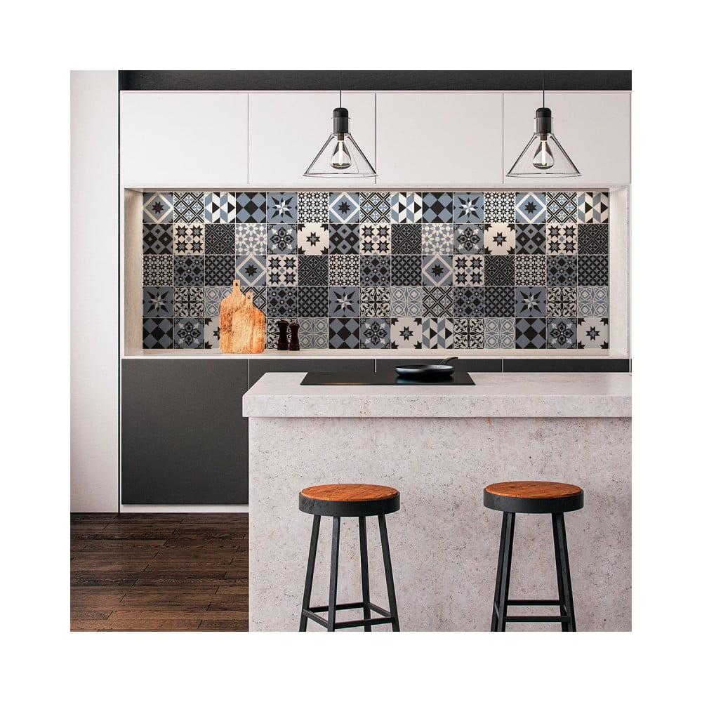 Sada 24 nástenných samolepiek Ambiance Wall Decal Cement Tiles Azulejos Ronaldo, 10 × 10 cm
