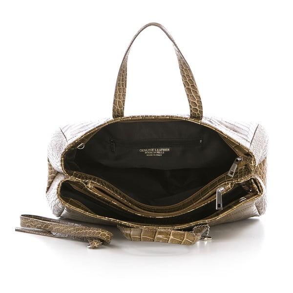 Béžová kožená kabelka Federica Bass Eris