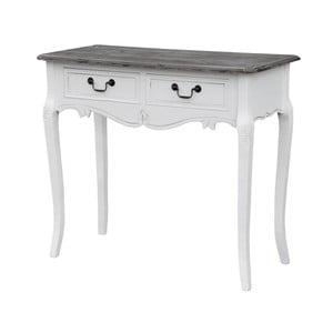 Biely konzolový stolík z topoľového dreva s prírodnými detailmi a 2 zásuvkami Livin Hill Rimini