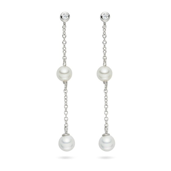 Perlové visiace náušnice so zirkónom Pearls Of London Elegance, 5,4 cm