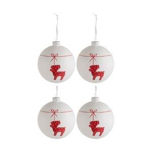 Sada 4 sklenených vianočných ozdôb J-Line Deer, ⌀ 10 cm