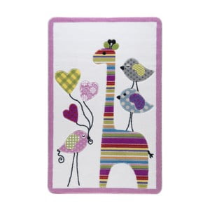 Detský ružový koberec Confetti Giraffe, 133x190cm