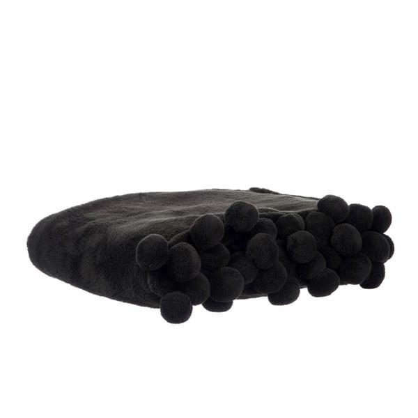 Prikrývka Pom-Pom Black, 127x152 cm