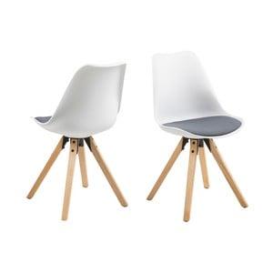 Sada 2 bielo-sivých jedálenských stoličiek Actona Damia