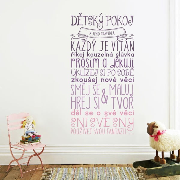 Samolepka na stenu Pravidlá detskej izbičky - farebná