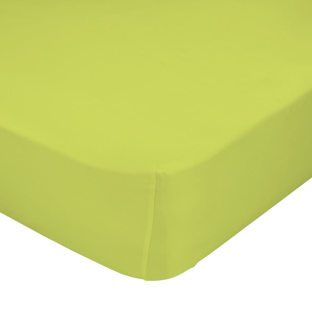 Zelená elastická plachta z čistej bavlny Happy Friday Basic, 90 x 200 cm