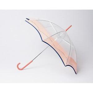Transparentní dáždnik Vichy, oranžový