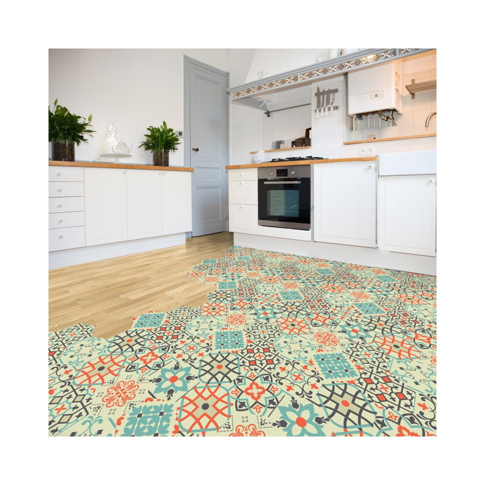 Sada 10 samolepiek na podlahu Ambiance Floor Stickers Hexagons Lieva, 40 × 90 cm