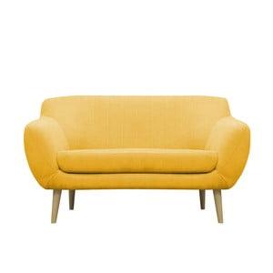 Žltá pohovka pre dvoch Mazzini Sofas Sardaigne, svetlé nohy