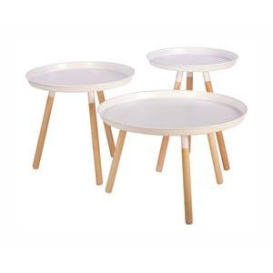 Sada 3 bielych odkladacích stolíkov Nørdifra Sticks