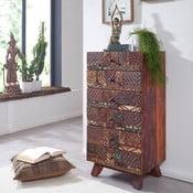 Komoda so 6 zásuvkami z recyklovaného dreva Skyport CARVED