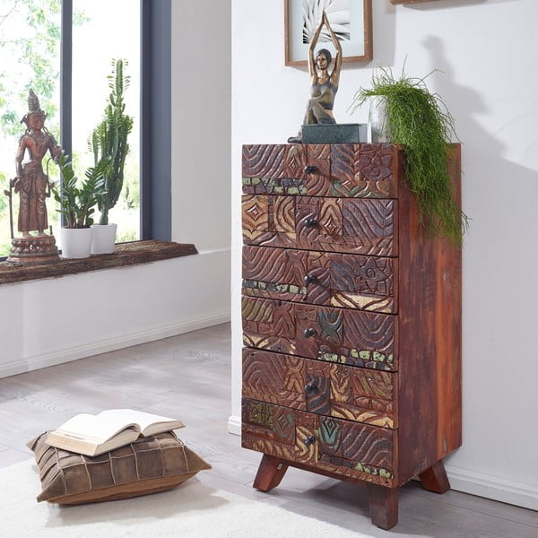 Komoda sa 6 zásuvkami z recyklovaného dreva Skyport CARVED