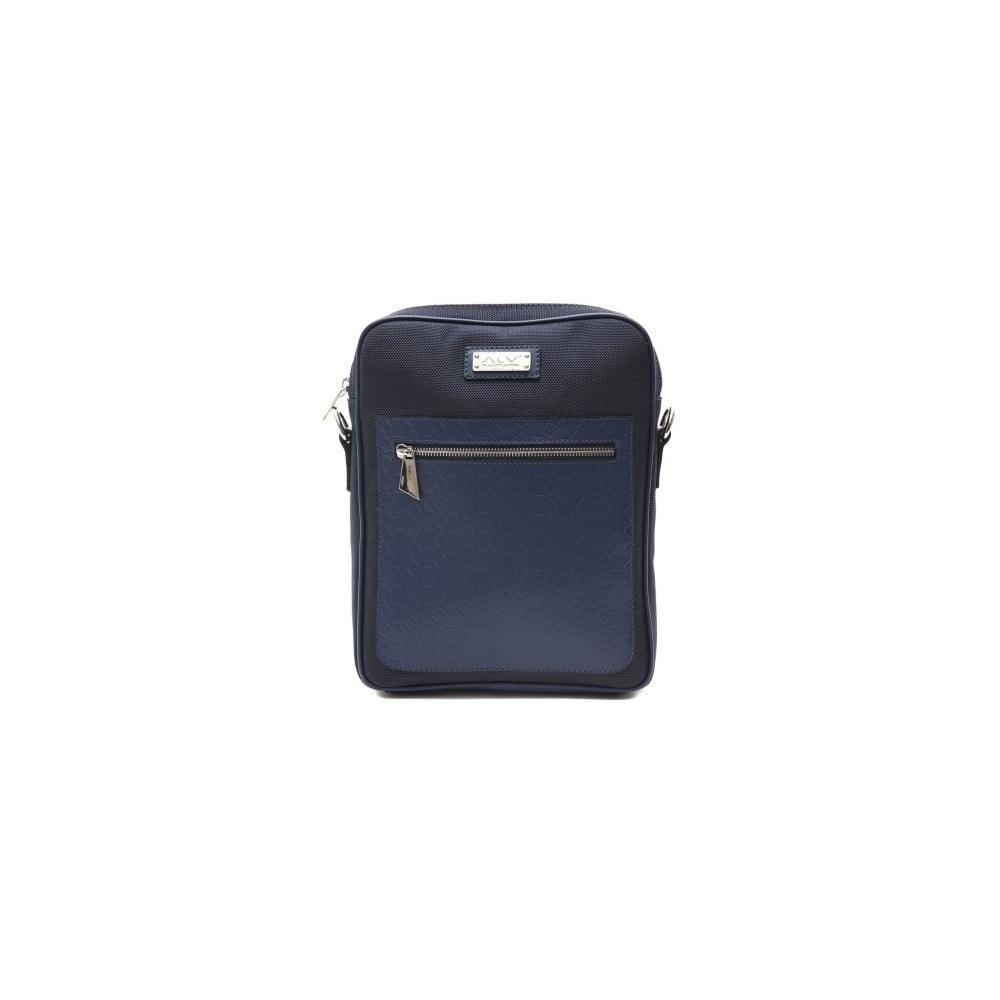 Tmavomodrá kožená pánska taška cez rameno Alviero Martini Ruhno