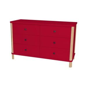 Červená nízka komoda s 6 zásuvkami Ragaba Ashme Boy