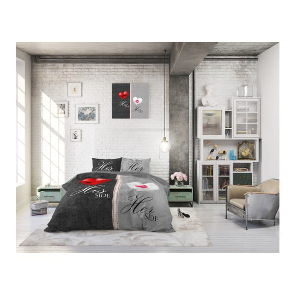 Sivé obliečky na jednolôžko z čistej bavlny Sleeptime His and Hers, 140×220 cm