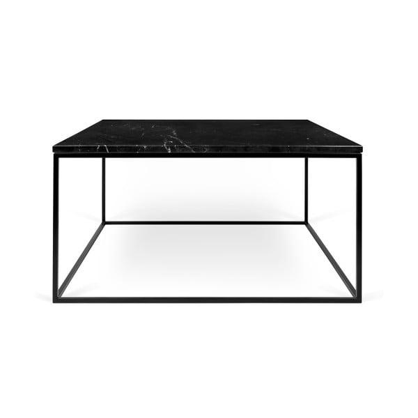 Čierny mramorový konferenčný stolík s čiernymi nohami TemaHome Gleam, 75cm