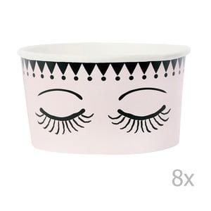 Sada 8 papierových kelímkov na zmrzlinu s lyžičkami Miss Étoile Eyes And Dots