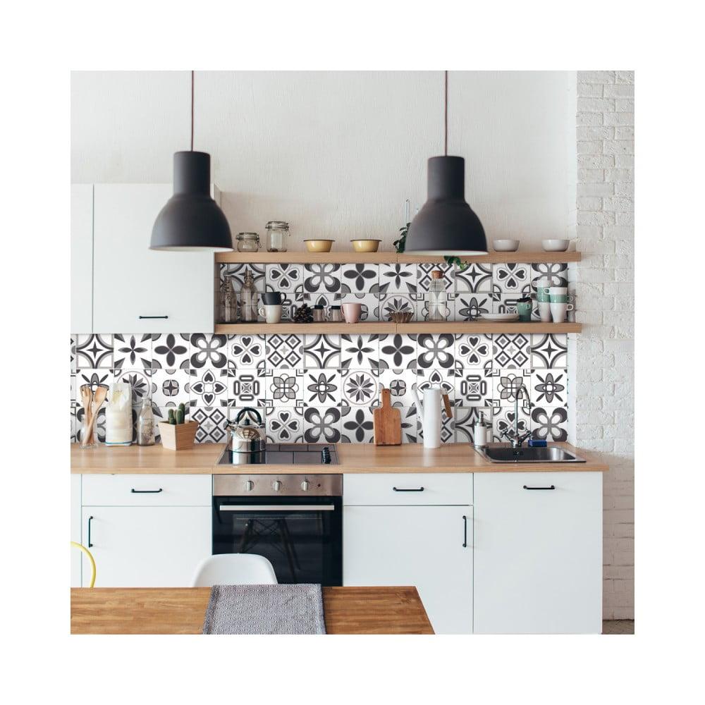 Sada 24 nástenných samolepiek Ambiance Wall Decal Cement Tiles Azulejos Erico, 10 × 10 cm