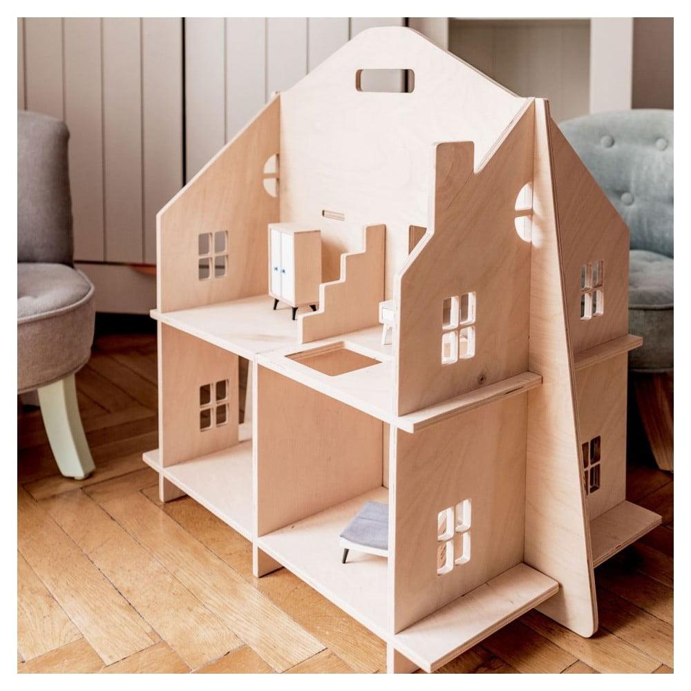Drevený detský domček pre bábiky Dekornik Blue Pastel Theatre