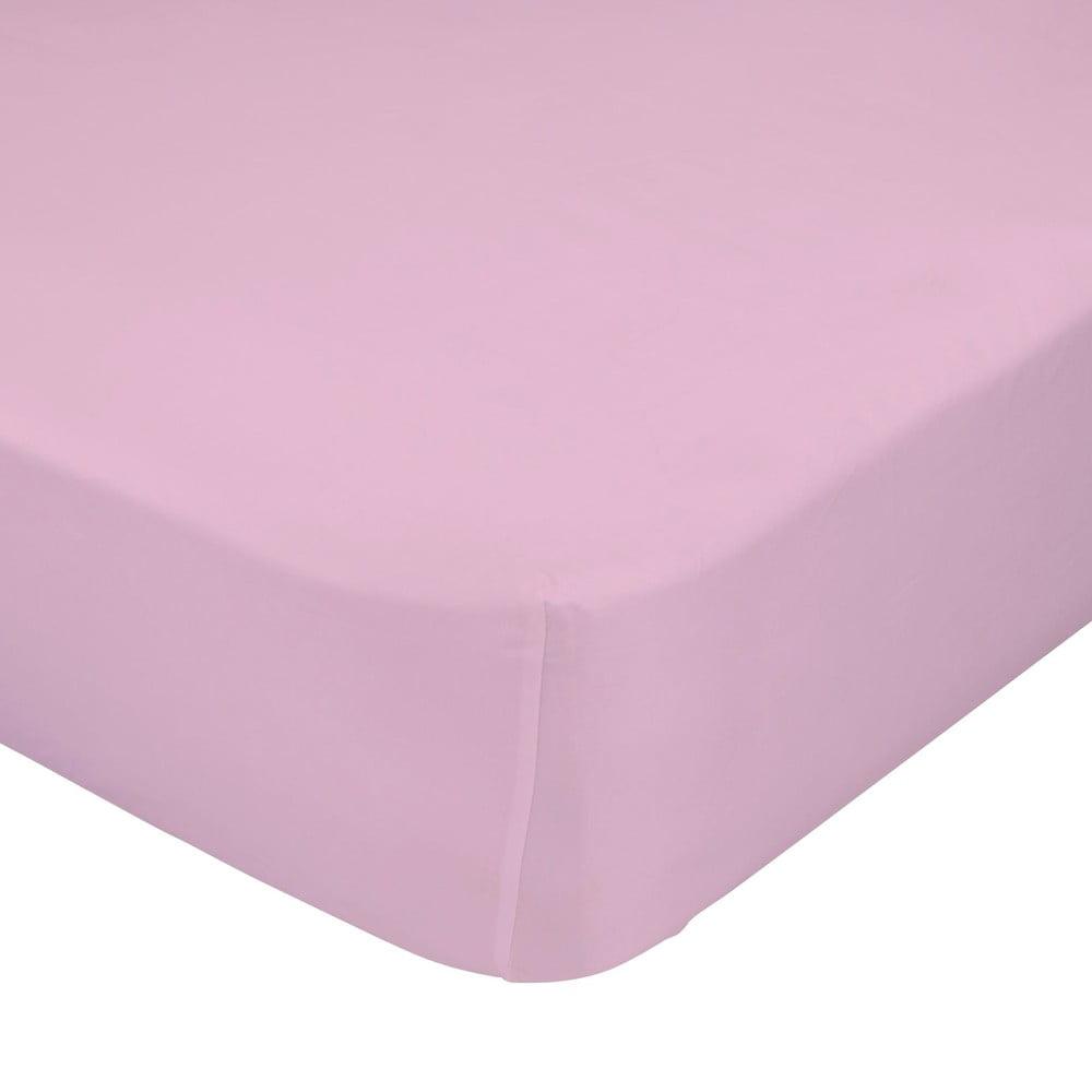 Ružová elastická plachta z čistej bavlny Happy Friday Basic, 90 x 200 cm