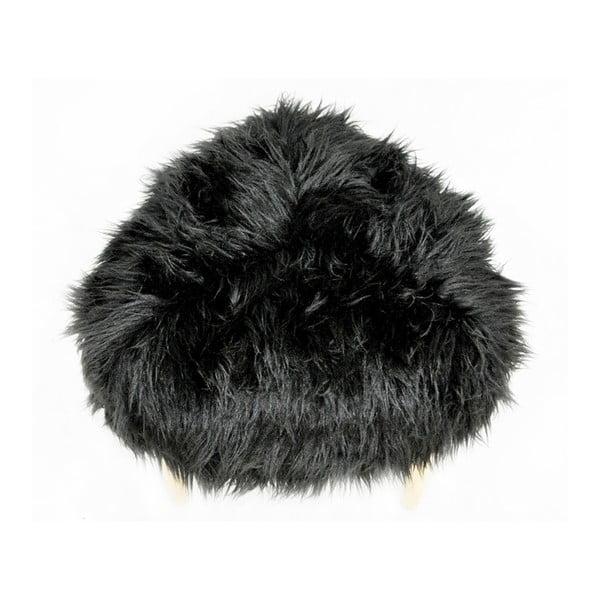 Taburet Happy Barok Furry, čierny