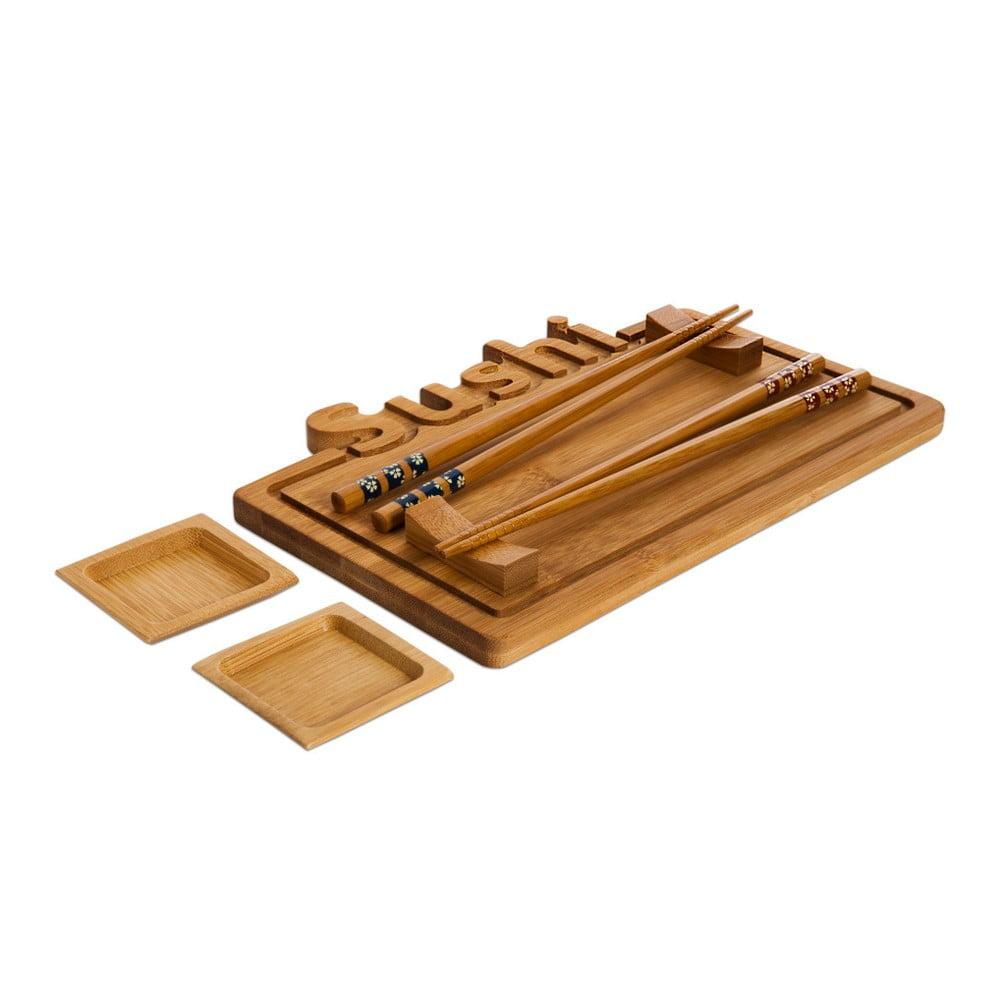 Set podnosu, tanierika a paličiek na servírovanie sushi Bambum