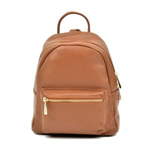 Koňakovohnedý kožený batoh Luisa Vannino Taira