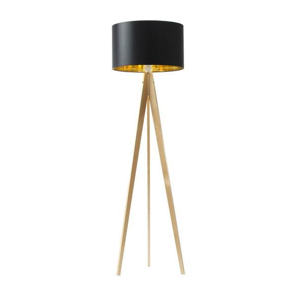 Čierno-zlatá stojacia lampa 4room Artist, breza, 150 cm