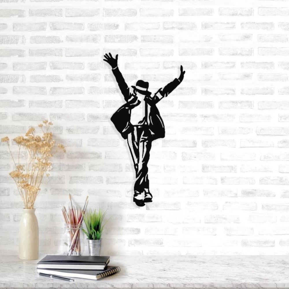 Čierna kovová nástenná dekorácia Michael Jackson, 36 × 69 cm