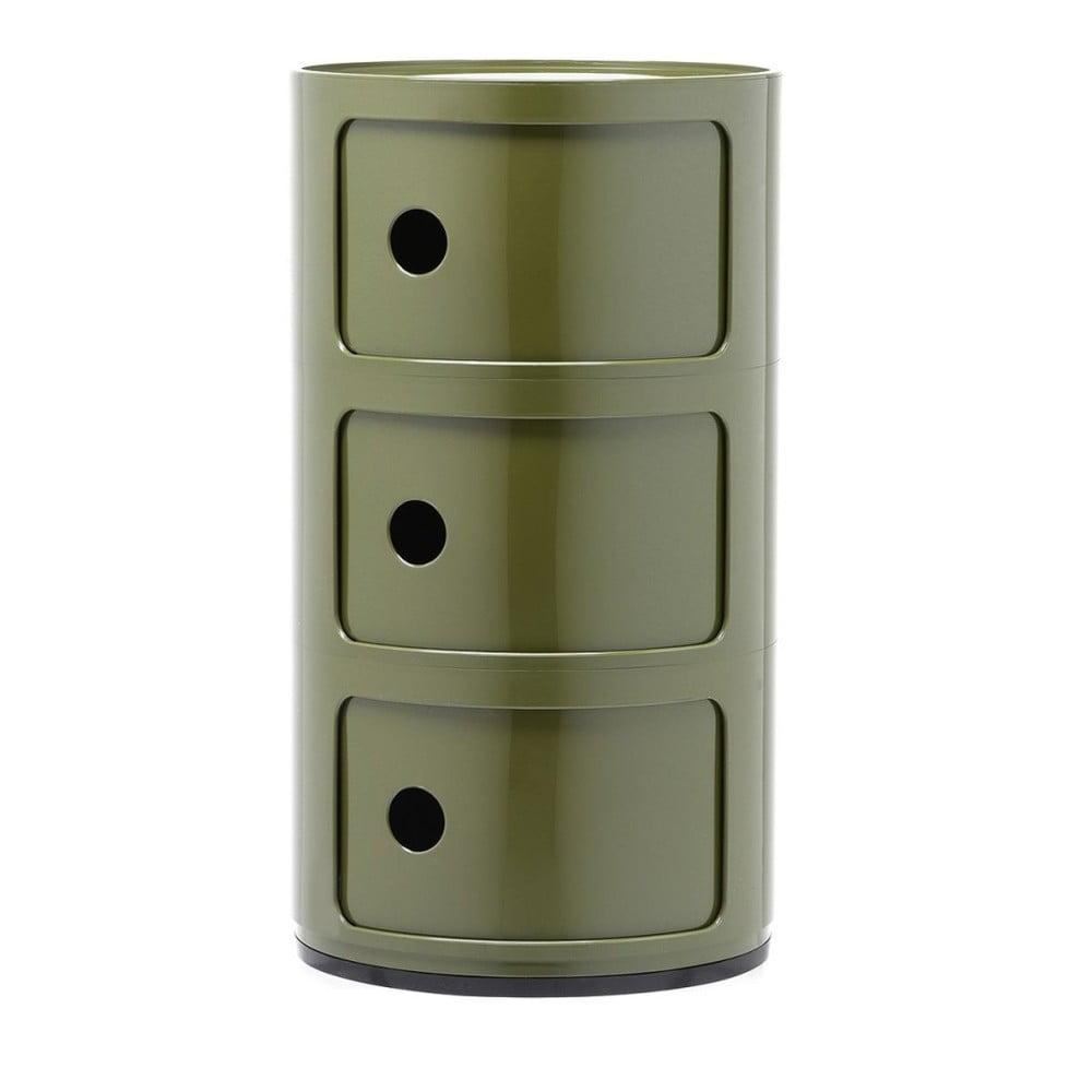 Zelený kontajner s 3 zásuvkami Kartell Componibili