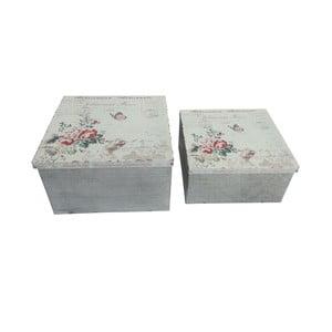 Sada 2 kovových škatuliek Antic Line Red Roses