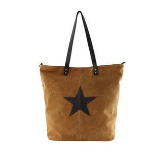 Koňakovohnedá kožená kabelka Chicca Borse Asterisco